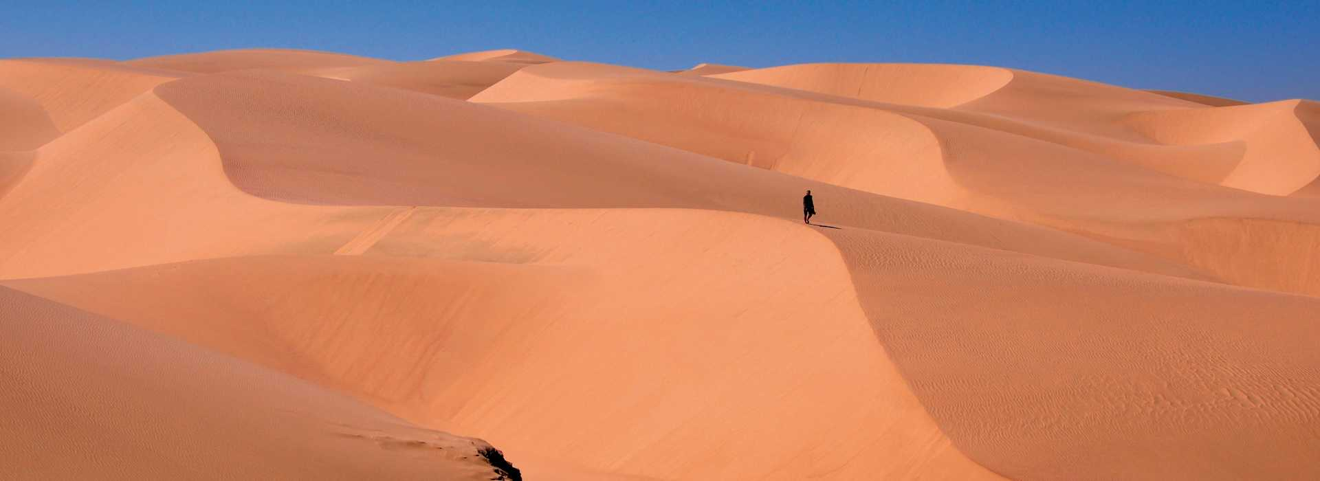 Man Climbing The Sand Dunes At Sossusvlei