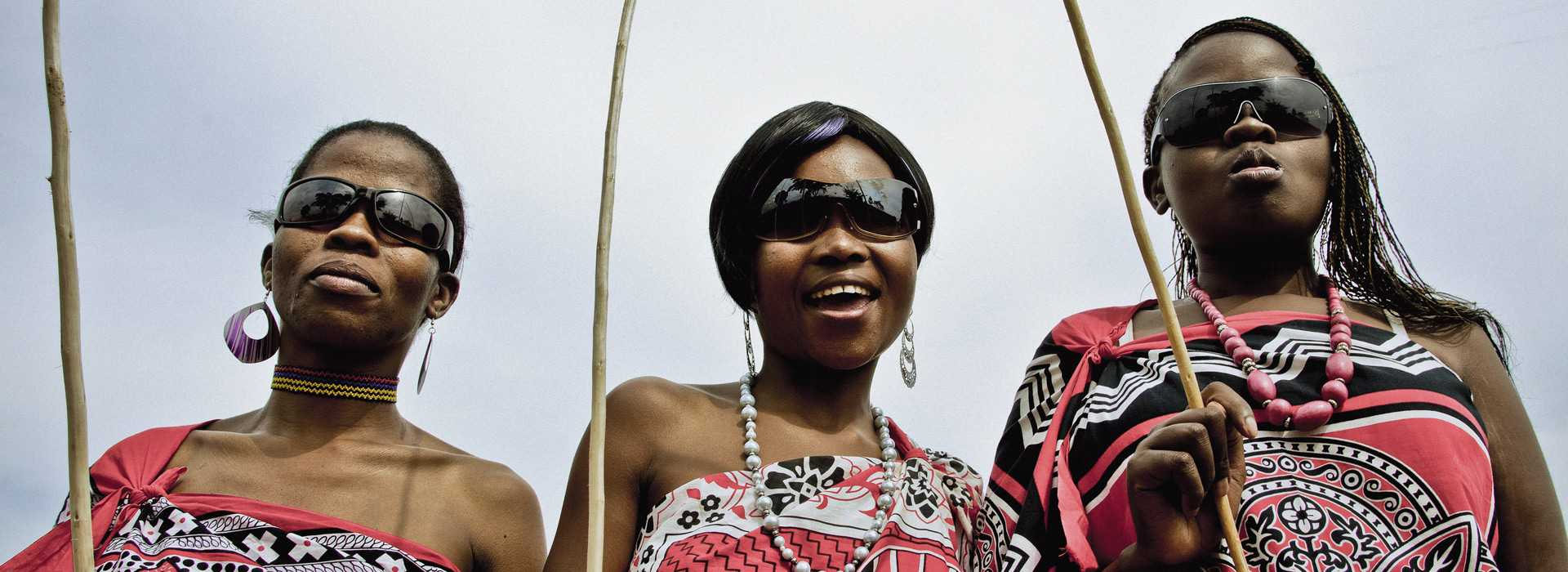 Three Swazi Women In Traditional Clothes