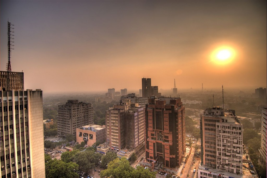 Sunset over New Delhi, India