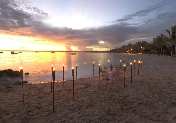 Beautiful beach scene at sunset on Matemo Island, Mozambique
