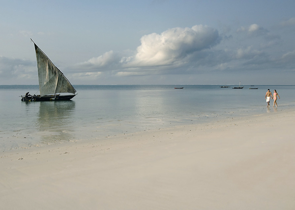 Dhow in the sea beside a Mombasa beach, Kenya
