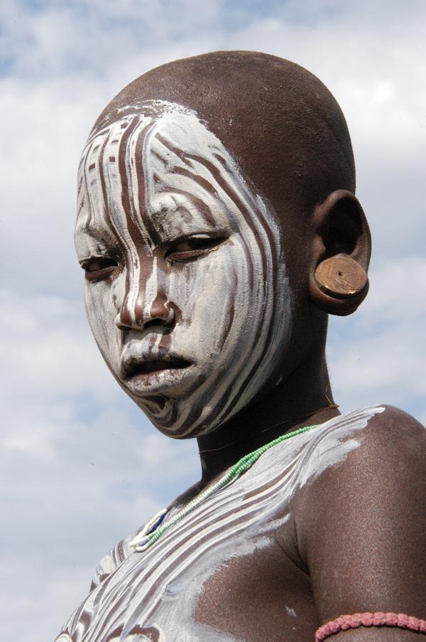 Painted Mursi Boy in Ethiopia