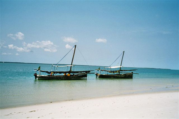 Dhows beside the beach