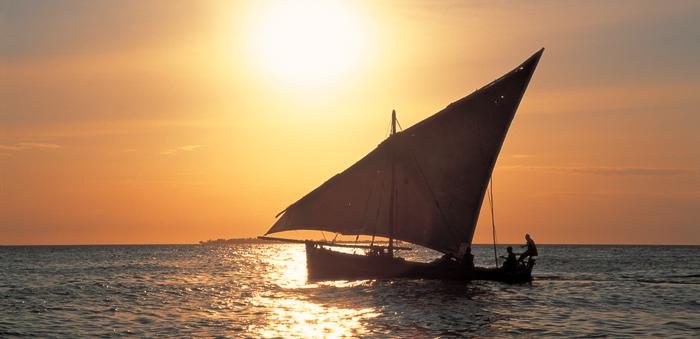 Dhow at sunset in Zanzibar