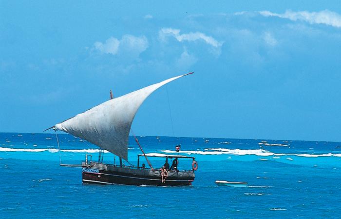 dhow in the Indian Ocean in Zanzibar