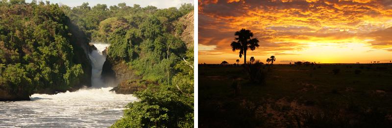 Murchison Falls and beautiful sunset, Uganda