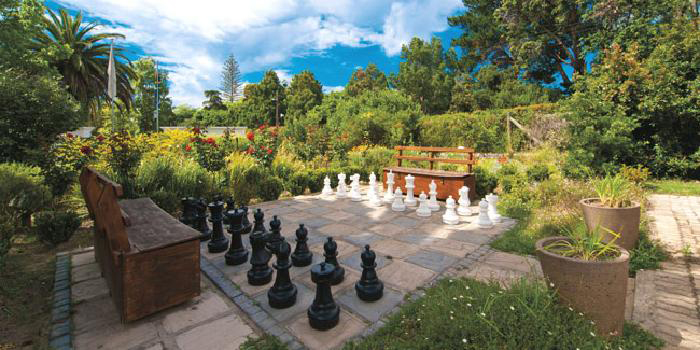 Giant chess board at Knysna Hollow Country Estate