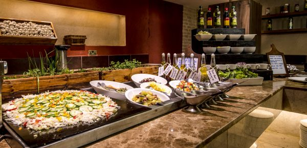 A buffet restaurant whilst on Safari