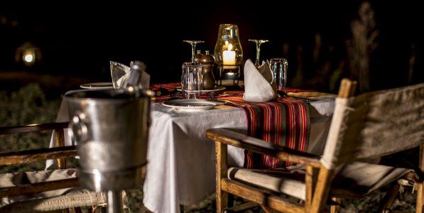 A romantic bush dinner whilst on Safari