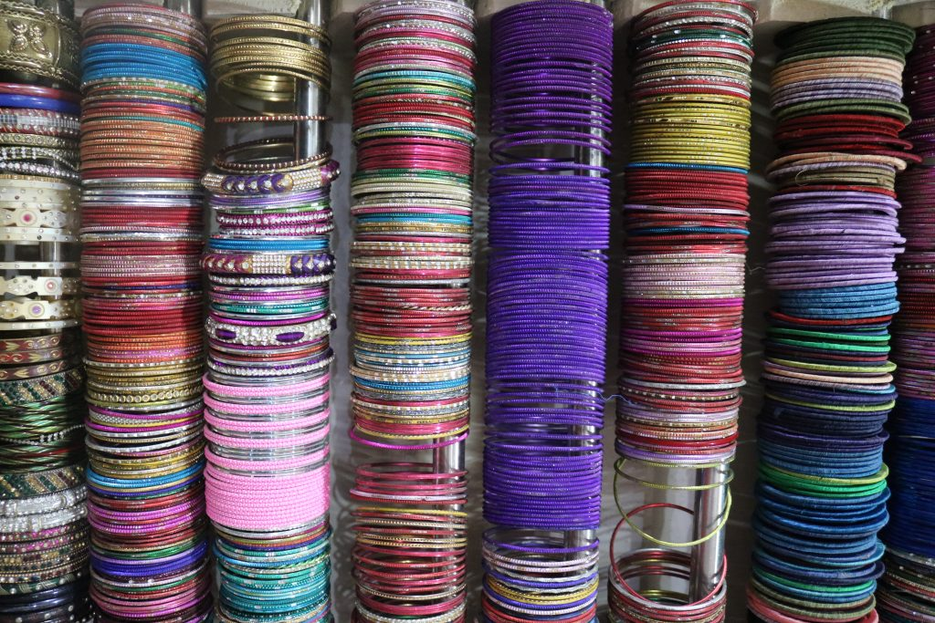 Colourful bangles on sale in Jaipur