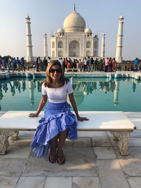 Young lady in front of The Taj Mahal