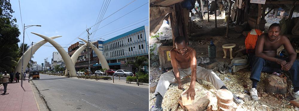 Elephant tusks and Akamba Wood Carving in Mombasa