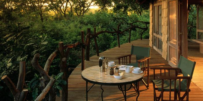 Outdoor deck at &Beyond Lake Manyara Tree Lodge in Tanzania